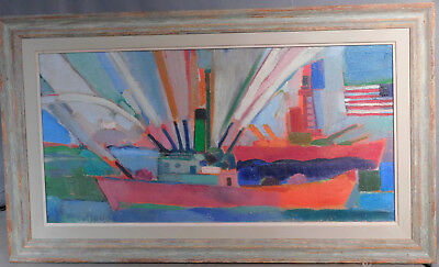 Mid Century Modern George McCullough Abstract American Flag Ship Painting