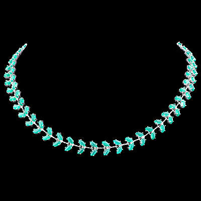 100% Natural 5X3Mm Green Aventurine Marquise Leaf Sterling Silver 925 Necklace