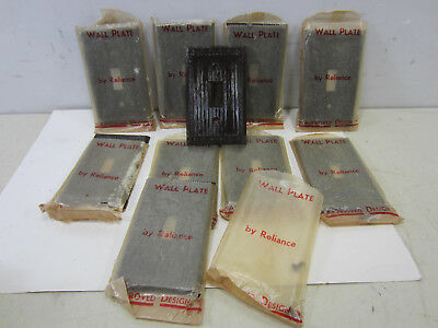 10 Vintage Reliance Brown Plastic Switch Plate Covers NOS #1