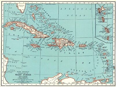 1942 Antique WEST INDIES Map CARIBBEAN & CUBA Map Gallery Wall Art #6337