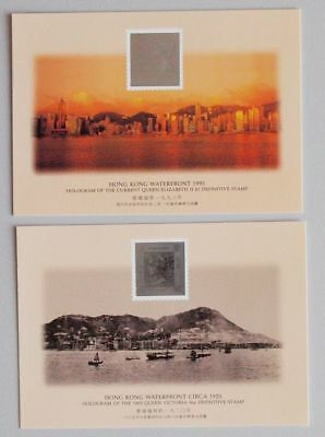 Hong Kong / China PRC 1994 Queen Victoria $1 + 96c Stamp Hologram Postcards