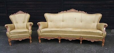 Vintage French Louis XV Style Carved Oak 2 Piece Salon Suite. (CONSW09)