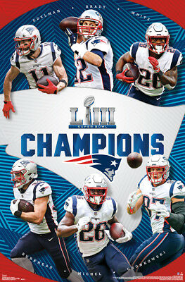 New England Patriots 2019 SUPER BOWL LIII CHAMPIONS Official 6-Player POSTER