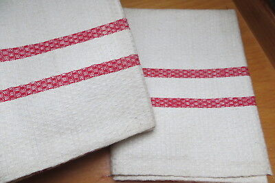 """Unused Set of 2 ( two  ) Huck Linen Towels Red Stripes  19 """" by 35 """" Germany"""