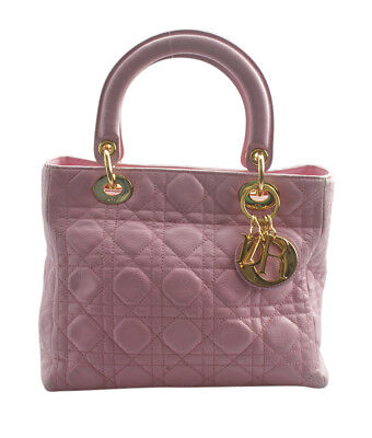 b6e0defc096 CHRISTIAN DIOR PINK Cannage Quilted Lambskin Leather Soft Shopping ...