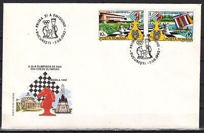 Romania, Scott cat. 3746-3747. Chess Olympiad issue on a First day cover