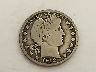 1912 P Nice Original in Very Good Condition Barber Half Dollar