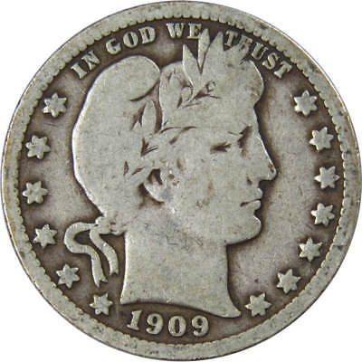1909 S Barber Silver Quarter Genuine