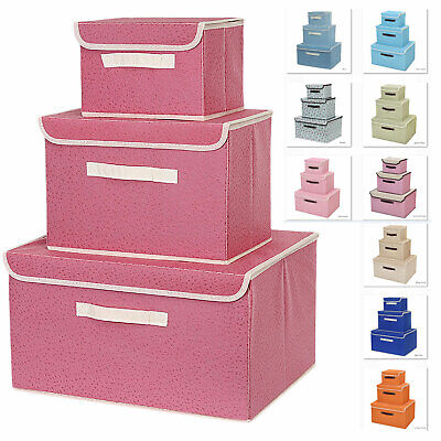 Storage Boxes X 3 Large Cube Folding Collapsible Retro Canvas Tidy solution box