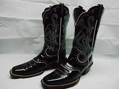 c18f7fb4c5f ARIAT WOMEN'S 9.5 B Black Patent Leather Square Toe Cowgirl Rodeo Western  Boots