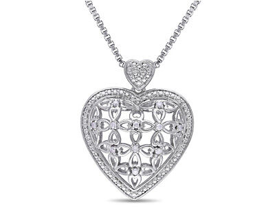 Diamond Heart Pendant Necklace 1/10 Carat (ctw) in Sterling Silver with Chain