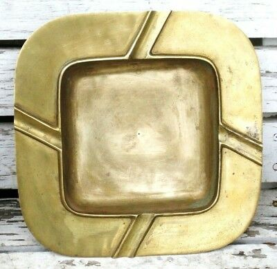 Antique OLD Vintage HEAVY Solid Brass LARGE Public Ashtray Art Deco Bar Party