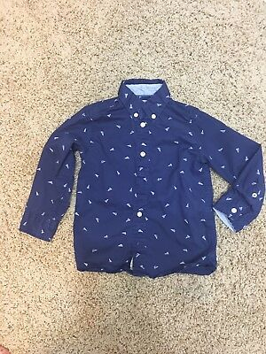 LOGG H&M Kids Blue Button Down Toddler Boys Roll Sleeve Shirt 2-3Y 2T - 3T