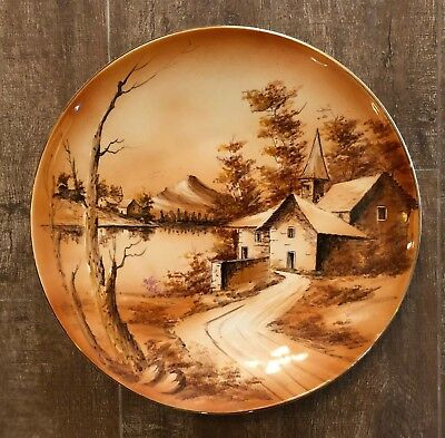 Antique Portugal vitrin hand painted plate decorative orange house trees village