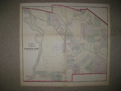 Huge Antique 1874 Cleveland 14Th Ward Cuyahoga County Ohio Handcolored Map Rare