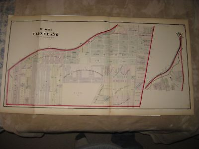 ANTIQUE 1874 CLEVELAND 12th WARD CUYAHOGA COUNTY OHIO HANDCOLORED MAP FINE RARE