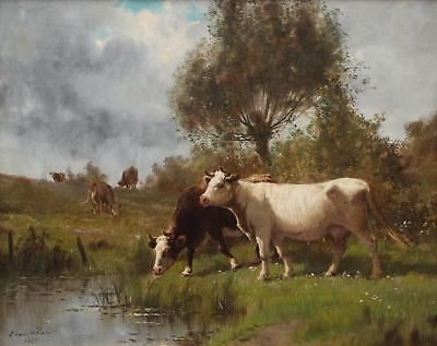 Handmade Oil Painting repro CLAIR Charles - Cows on Pasture by The River