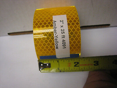 "3M BRAND # 4091 AMBER YELLOW GOLD ROLL  REFLECTIVE TAPE  2"" x 25' CUSTOM CUT"