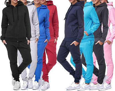Jogginganzug Sportanzug Fitness Hoodie Hose One Colour Einfarbig Damen