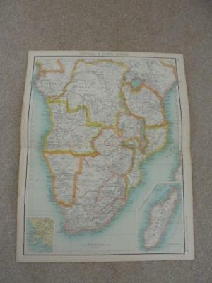 MAP c1900 CENTRAL & SOUTH AFRICA BARTHOLOMEW ATLAS
