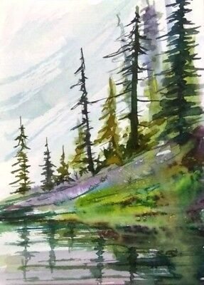 ACEO Original Fall painting Autumn Mountain trees landscape watercolour art card