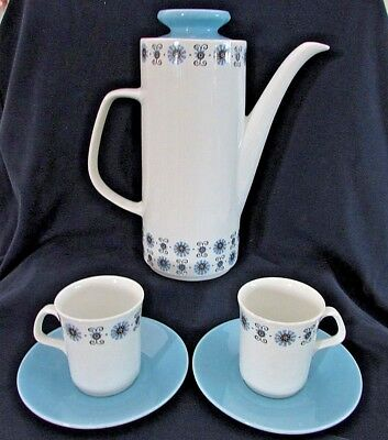 MEAKIN JG STUDIO Coffee Pot and 2 Cups & Saucers, Blue Floral Mid Century