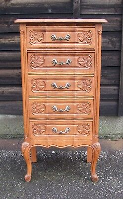 Louis XV Style Vintage French Carved Oak Chest of 5 Drawers  - (CONCD16)