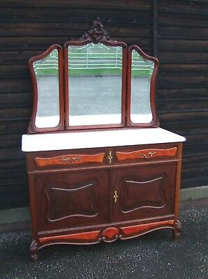 19th Century French Mahogany and Marble Dressing Table/Chest - CONDT09