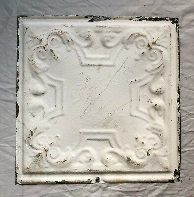 1890's 12 x 12 Antique Tin Ceiling Tile White Metal Reclaimed Anniversary 51-19