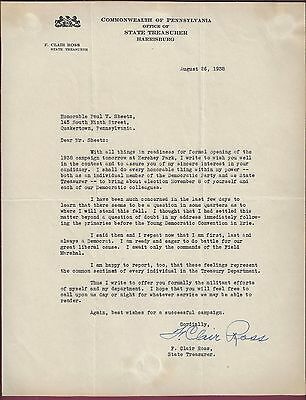 F. Clair Ross, PA Auditor General, Typed Letter Signed, COA, UACC RD 036