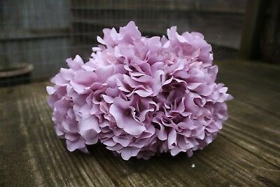 6 x  DUSKY LILAC MAUVE SILK HYDRANGEA FLOWERS 9cm LONG WIRED STEMS BOUQUET
