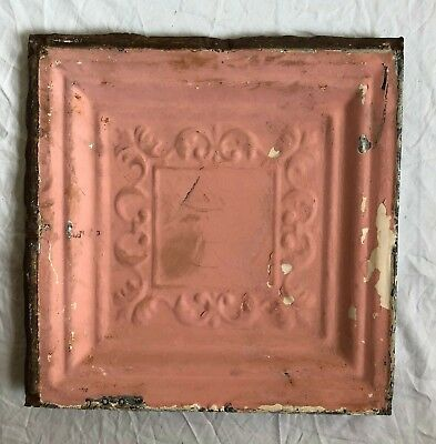 "12"" x 12"" 1890's  Antique Tin Ceiling Tile Reclaimed Metal Vintage Pink 55-19"