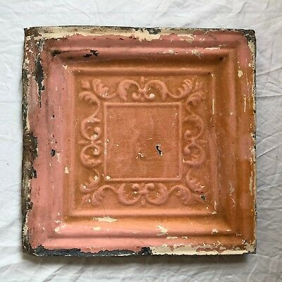 "12"" x 12"" 1890's  Antique Tin Ceiling Tile Reclaimed Metal Vintage Pink 56-19"