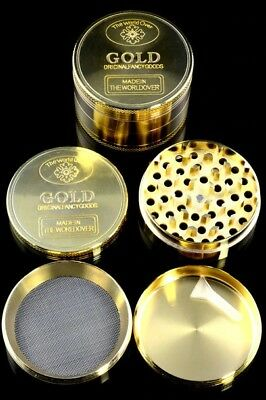 Gold Tobacco Herb Spice Grinder 4piece Herbal Alloy Smoke Metal Chromium Crusher