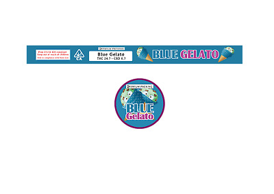 BLUE GELATO 100ML PRESSITIN LABELS (Cali/Tuna Tin Stickers - 10 CAN PACK)