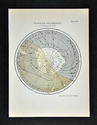 1894 Muller South Pole Map Isogonic Lines Magnetic Declination Antarctica Oceans