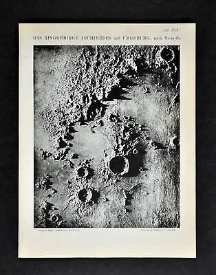 1894 Muller Celestial Map - Archimedes Crater on Lunar Surface Moon Mountains