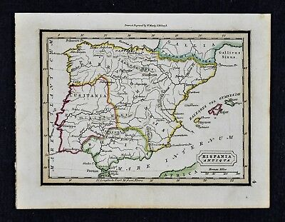 1832 Murphy Map Hispania Antiqua Ancient Spain Portugal Lusitania