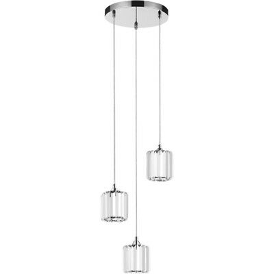 "Paris Prix - Lampe Suspension Verre 3 Têtes ""merilo"" 30cm Chrome"