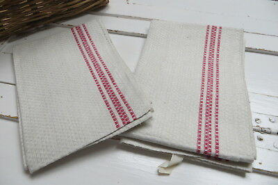 """Pair Of Two ( 2)  Huck  Linen Towel Runner Red Stripes 19.5 """" by 39"""" Neved Used"""