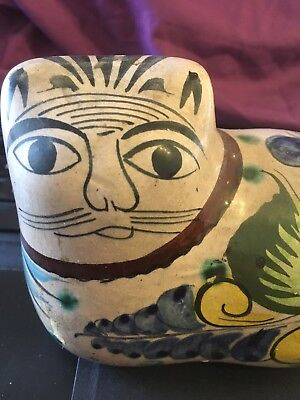 """Vintage Folk Art Pottery Cat Figurine, Made in Mexico 4""""x5"""" White"""