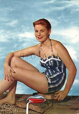 Original 1950s-60s French Risque Pinup PC- Short Hair- Swimsuit- Bathing Cap