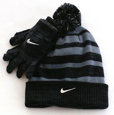 5ab5ac2d9 NEW NIKE BOY'S Knit 2 piece Hat and Gloves Set Cuff Beanie Size ...