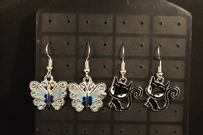 BUTTERFLIES & CATS Lot of 2 Pairs  EARRINGS  Brand New! Jewelry  USA SELLER!!!