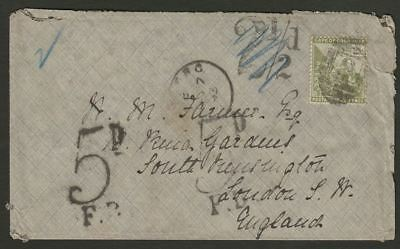 Cape of Good Hope 1893 QV 2½d Used on Cover - UK w Rate Marks + WYNBERG Postmark