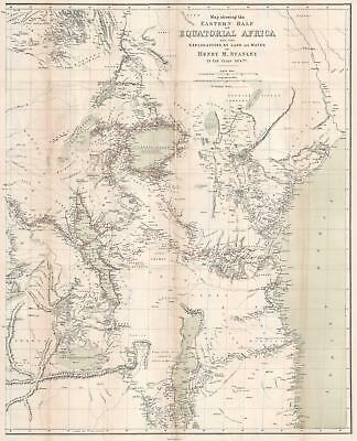 1879 Stanley Map of East Africa Tracing His First Trans-Africa Expedition