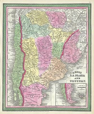 1854 Mitchell Map of Chile, Argentina and Uruguay