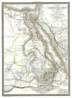 1829 Lapie Map of Egypt from Nubia, Abyssinia, Kordofan