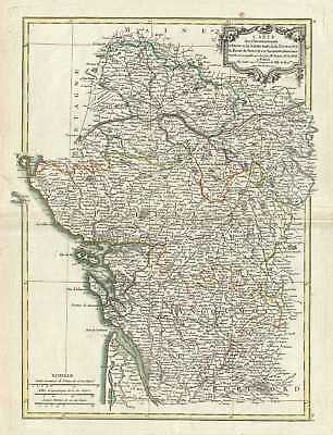 1771 Bonne Map of Poitou, Touraine and Anjou, France