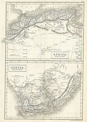1844 Black Map of North Africa and South Africa